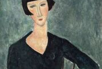 Amedeo Modigliani, Femme assise à la robe bleue, 1918-1919. Moderna  Museet,  Stockholm.  Donation  d'Oscar  Stern, 1951.  Photo:  Moderna Museet, Stockholm